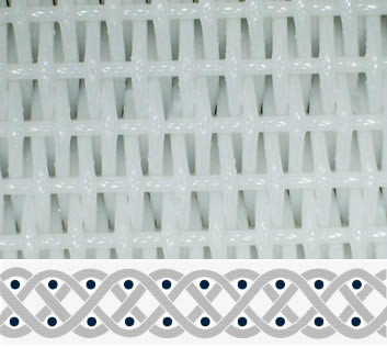 A piece of white polyester dryer belt in four-shed woven pattern.