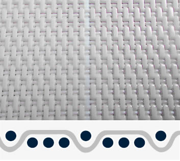A piece of white polyester dryer belt in four-shed woven pattern and single layer.