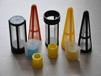 Several industrial polyester filters are made of plastic frame and white filter mesh.