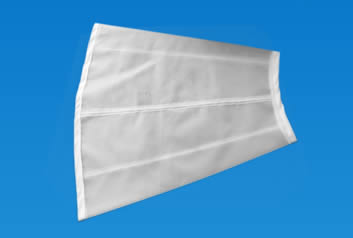 A piece of tapered sifting screen made of fine flour bolting cloth.