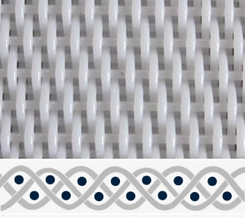 A piece of white polyester dryer belt in three-shed woven pattern.