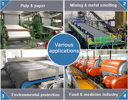 Polyester filter belts are used for paper making, sludge dewatering, fruit juice squeezing and coal separating.