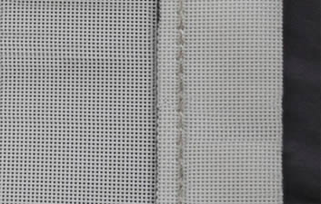 A piece of white polyester filter belt with mesh sealed edge
