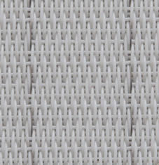 A white anti-static polyester filter fabric in 3/2 twilled weave with warp conductive threads.